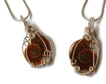 Small Ammonite Fossil Necklaces (Pair or Single) with Simple Wire-work / Natural Fossil Pendants / Best Friends Necklaces / For Him and Her