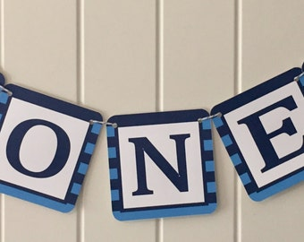 """COOKIE MONSTER Inspired 1st Birthday Highchair """"ONE"""" banner - Light Blue Navy - Party Packs Available"""