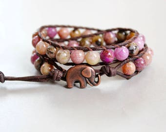 lucky elephant wrap, beaded wrap bracelet, elephant bracelet, gifts for her, elephant jewelry