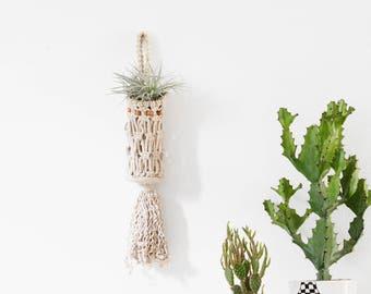 Vintage Macrame Hanging Pouch - Plant Holder