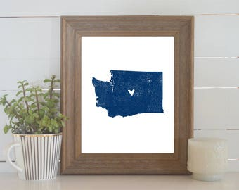 Washington Distressed State Map Print. Personalized 8x10 State Art Print. Wedding Art. Wedding Gift. Housewarming Gift. New Home Gift.