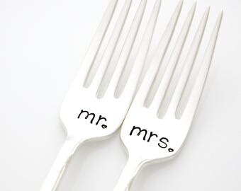 Mr and Mrs wedding forks. Stamped silverware for engagement gift, wedding present.