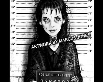 Gothic Art, Lydia Deetz, Beetlejuice Mugshot art,  Witchcraft, Occult , Witch , Goth, dark Art, Art Print by Marcus Jones