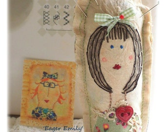 Eager Emily -Cotton Reel Pin Cushion, patchwork, primitive hand drawn, hand embroidered in Australia