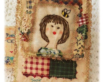 Suzie -Original, Tiny sewing repair kit , Needle Book, patchwork, primitive hand drawn, hand embroidered in Australia