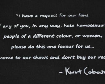 """ANTI-BIGOTRY  Kurt Cobain Patch - """"If any of you in any way hate homosexuals..' - Feminist, anarchist, Black Lives Matter Protest Patch"""