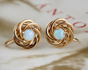 Vintage Opal Earrings, 14k Yellow Gold, 1950s Love Knot Earrings, Retro F&F Felger Gold Earrings, Screw Back Opal Earrings, Tiffany Supplier