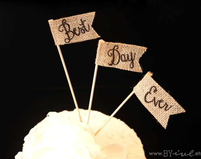 Best Day Ever, Burlap Cake Topper for Rustic Wedding Decor. Little Flag Cake Topper.