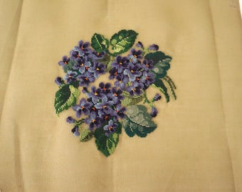 Vintage Floral Pillow or Chair Seat Unfinished Needlepoint Canvas Floral Violets