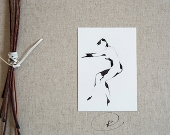 Original nude dancer ink art drawing-Minimal dancer drawing,black and white nude art, nude movement,ink art,original art by Cristina Ripper
