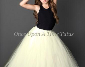 Ivory Long Tutu Skirt - Little Girl Child Size - 12M 2T 3T 4t 5 6 7 8 10 12 - Cream Off White Color Wedding Flower Girl Full Length Tulle