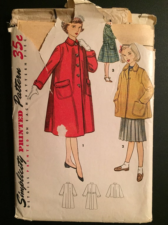 Simplicity Sewing Pattern 50s 4418 Girl's Coat in Two Lengths Size 12