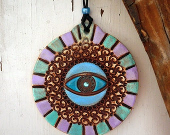 Pottery Evil Eye Wall Hanging, Handmade Ceramic Plaque Home Decor, Protection Symbol Entryway Hanging Decor, Wall Decor Amulet Ready to Ship