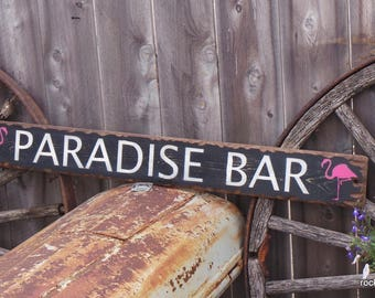 Paradise Bar Distressed Wood Sign/Flamingo/Lounge/Rustic