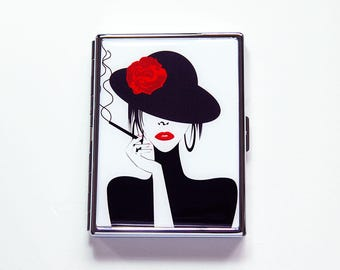Slim Cigarette Case, Cigarette Holder, Cigarette box, Black, White, Red, Woman smoking, Gift for her, Gift for smoker, Mothers Day (7424)