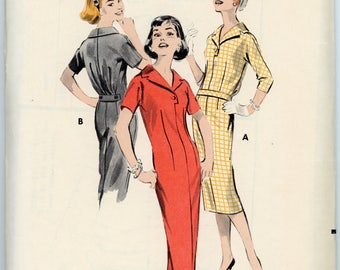 Vintage Butterick Pattern 8566- ca. 1958 - Misses Semi-fitted Chemise Dress Size 12 Bust 32