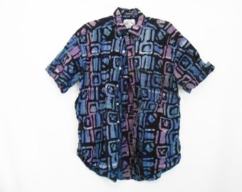 90s Button Up Shirt/ Surf Shirt/ Skateboard Shirt/ Fresh Prince Shirt/ Sneakerhead/ Vintage Streetwear/ African Clothing/Tribal Shirt