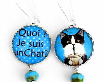 Quoi ? Je suis un Chat ?  boucles d'oreilles chat