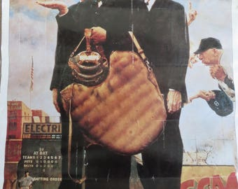 Vintage Norman Rockwell poster print, Tough Call, Brooklyn Dodgers, Pittsburgh Pirates, baseball memoribilia