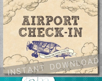 Airport Check-in Sign - 8x10 inches - Vintage Airplane Birthday Party - Baby Shower - Decoration - Digital - Printable - INSTANT DOWNLOAD
