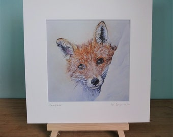 "Fox Mounted Limited Edition Giclee Print - Snowflake - PRE ORDER - High quality 12"" x 12"" mounted print of an original fox in snow painting"