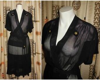 Vintage 1930s Dress Sheer Black Net Dress Art Deco Ruching Faux Peplum Glitter Dress Ornaments Pinup Rockabilly Noir L XL chest to 45 in