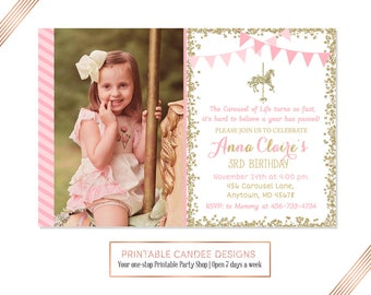 Carousel Birthday Invitation, Pink Gold Party, Horse Birthday, Carnival Invite, Glitter Carousel Horse Invitation, Printable