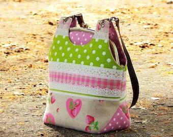 Linen bag set, Metal frame bag with leather straps, Clutch purse