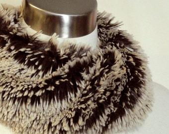 Faux Fur Scarf -  Mocha Frost Faux Fur Cowl - Frosted Shag Minky Scarf .