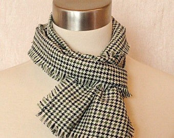 Green Plaid Wool Scarf  - Green, Blue, Cream Plaid Woven Wool Scarf .