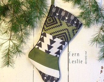 Quilted Christmas Stocking, Aztec Green, Personalized, Modern, Black, White, Patchwork, Handmade, Home Decor, Geometric, Tribal, Kids