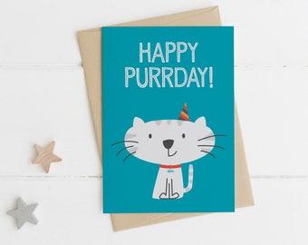 Funny Cat birthday Card - Happy Purrday - cute animal card - friend card - cat card - animal pun card - childrens birthday card