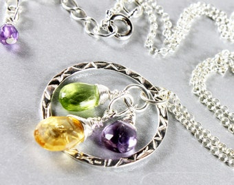 Mixed Gemstone Necklace, Amethyst, Peridot, Citrine, Sterling Silver, purple, green, golden, fine necklace, delicate, gift for her