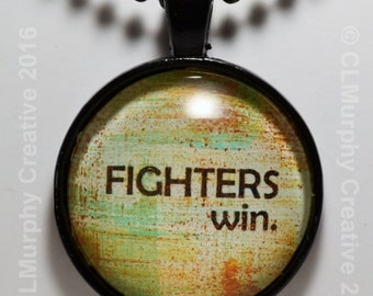 Sobriety Custom Art Necklace Pendant Jewelry Recovery Necklace Fighters Win AA NA C L Murphy Creative