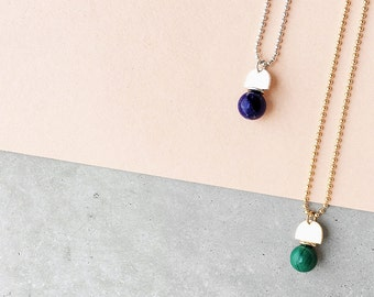 Silver Gemstone Arch Pendant / sterling silver ball chain / lapis lazuli, dark green malachite, sunstone, pearl