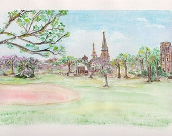 Frederick Maryland Art Print, Baker Park Watercolor, Downtown Spring Landscape, Historical Picture, Clustered Spires Painting, Bell Tower