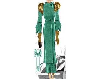 Plus Size (or any size) Vintage 1934 Dress Sewing Pattern - PDF - Pattern No 1521 Ina 1930s 30s Retro