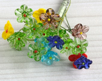 Vintage Wired Glass Flower Bouquet Bunch, Multi-Colored Glass Lamp Work Flowers