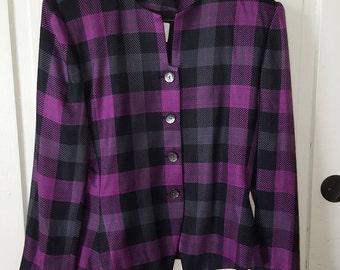 KASPER For A.S.L. BLAZER // PURPLE Black Gray Suit Jacket Size 14 Preppy Chic Checkered Shoulder Pads