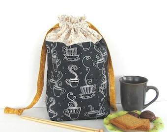 Yarn Bag, Crochet Knitting Bag, Drawstring Knitting Tote, Tea Time Knitter's Gift Chalkboard Teacups, Medium or Large