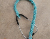 Stethoscope Cover Scrunchie TURQUOISE QUATRAFOIL Protect bare neck & tubing Wash Reuse Handmade USA Fits single tube style Nurse Vet Doc