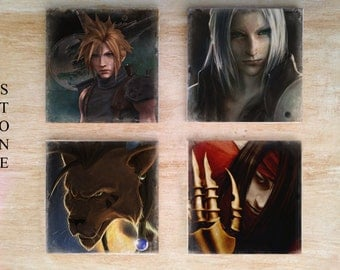 Stone or Ceramic Final Fantasy VII Coaster set - Vintage Retro ffvii ff7 Sloud Strife Sephiroth Vincent Valentine Red XIII RPG Video Game