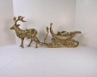 Vintage Brass Sleigh and Reindeer