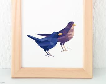 Blackbird pair painting, Blackbird print, Songbirds, Garden animals, Bird pair, European birds, Garden wildlife, Kitchen art, Geometric bird