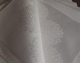 Double damask linen napkins set of 4 NEW linen chrysanthemum napkins  holiday table fine dining hostess gift 8 available