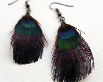 Feather Dangle Earrings, layered feather earrings