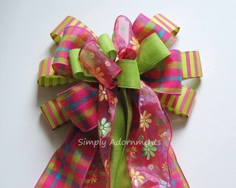 Pink Lime Spring Floral Wreath Bow Pink Green Door Hanger decor Pink Plaid Lime Daisy Wired Ribbon Wreath Bow Pink Birthday Party Decoration