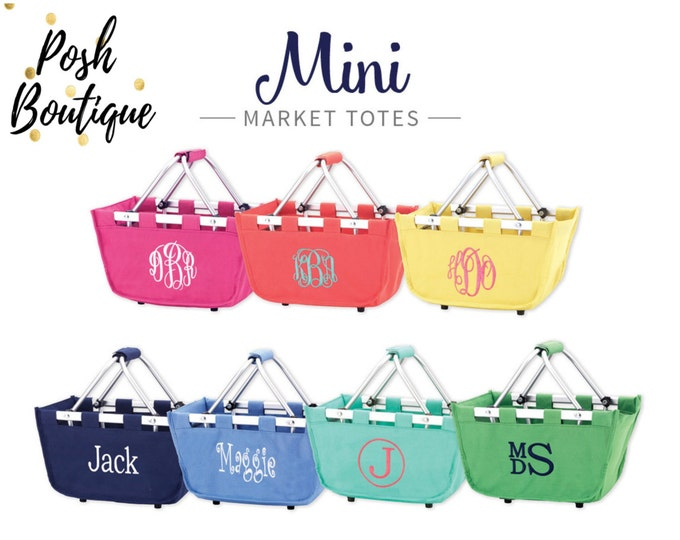 Monogram Mini Market Tote, Monogrammed Easter Basket, Personalized Easter Basket, Group order discounts, Multi use tote