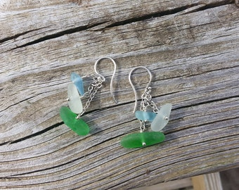 multi-dangle genuine beach glass and sterling silver earrings in soft blues and greens