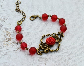 Vintage style red rose flower bracelet